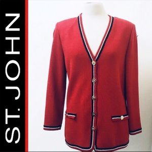 ST. JOHN by MARIE GRAY Cardigan Sweater-Red/Blue 2